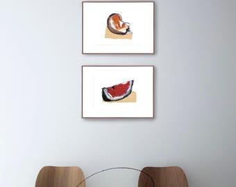 Set watercolor fruit print, set amount, set option, modern watermelon and peach print set wall art, watercolor print, choose set, sets