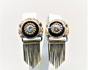 Black Dangle Earrings - Vintage, Gold Tone, Clear Rhinestones, Screw Back