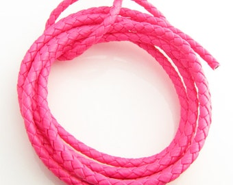 4mm PU braided Neon pink leather cord, 5 feet