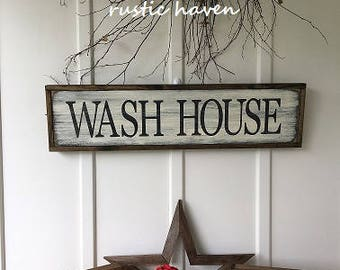 "Farmhouse Fixer Upper Style Sign | Wash House | Primitive Sign | Laundry Room | Bath Sign | Laundry Decor | Wood Sign | Wall Art| 8.5"" x 33"""
