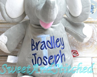 Personalized Stuffed Animal baby gift elephant for boys or girls, Monogrammed stuffed animal, monogrammed baby gift, monogrammed elephant