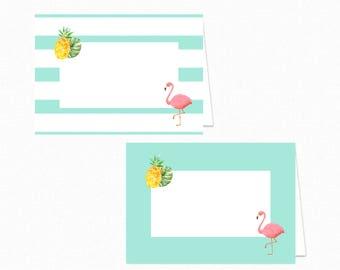 Flamingo Food Tent Labels - Flamingo Food Tents - Printable Party Food Labels - Flamingo Place Cards - Flamingo Pineapple