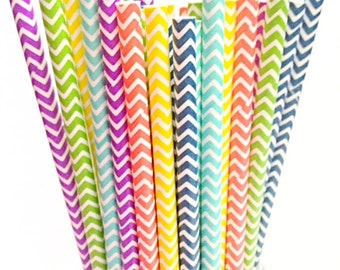 Chevron Rainbow Paper Straws- 50 bright mixed Carnival Birthday, Summer BBQ Party Straw, spring decor
