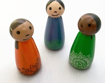 Set of 3 Peg Dolls - 2 Inch Peg Dolls - Wooden Peg Dolls - Set of Peg Dolls - Ready to Ship