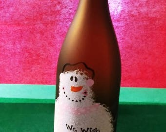 We wish you a merry christmas painted wine bottle
