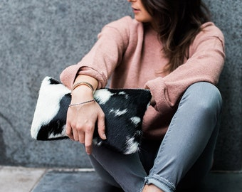 Black and  White Hair on Hide Clutch | Cowhide Bag | Pouch | Purse | Pony Hair