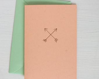 peach ARROWS folded notecards