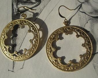 MOROCCAN MOON Earrings in Gold Tone Raw Brass