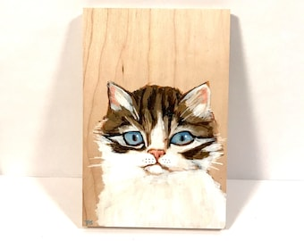 Tabby Cat Isn't Sure About Love Acrylic Painting on Wood