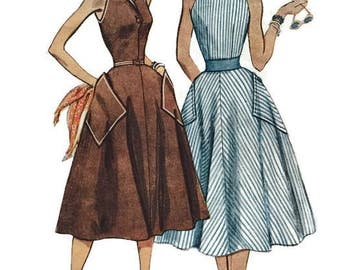 Vintage 1940s Simplicity 4354 Sleeveless Sundress Halter Dress Sewing Pattern Size 14 Bust 32