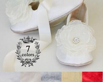 Ivory Silk Flower Girl Shoe, Baby Christening Shoe, Easter Toddler Ballet Flat, Girl Wedding Shoe, Spring Wedding Ballet Slipper, Baby Souls