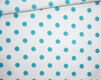 Turquoise dots on white, 100% cotton fabric printed 50 x 160 cm