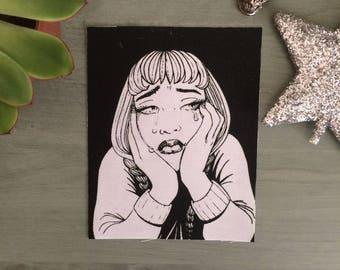 Sad Girl Sew On Patch