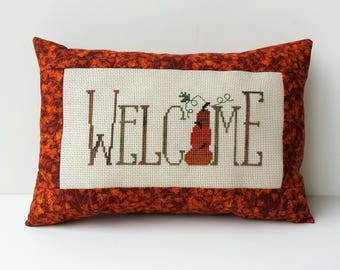 Welcome  pillow, completed cross stitch, Fall decor primitive pumpkin stitched pillow, Thanksgiving decoration, autumn pillow