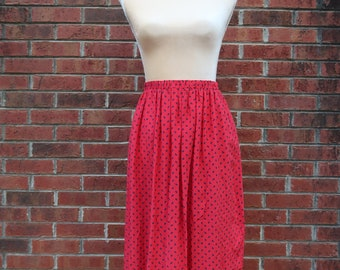 Vintage Red Paisley Silk Skirt
