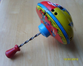 Vintage Metal Toy Top, Vintage Spinning Top, Vintage Tin Toy, Metal Top with Spacemen and Rockets
