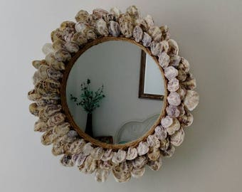 SOLD ! SOLD !Oyster shell seashell round wall mirror coastal nautical theme decor beach wedding gift