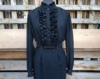 Vintage 1970's black ruffled neck and front nearly sheer full sleeve blouse