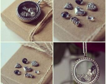 Floating Locket Necklace , Glass Locket , Personalised Gift , Memory Locket , Floating Charms , Stainless Steel , Personalised Necklace