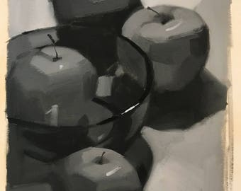 """Sketch study black and white oil painting """"Four Apples"""" by Sarah Sedwick"""