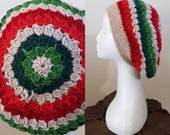 THE VINTAGE TAM Handmade 1940s Landgirl Boho Alpaca Wool Blend Crochet Knit Beret Hat Cream Red Green