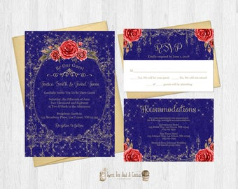 Beauty and the Beast Wedding Invitation Suite Navy Blue Gold and Red Roses RSVP Card Accommodations Card Fairytale Princess Bundle Set
