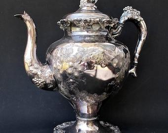 Antique Barbour Silver Plate Teapot Grape Vine Pattern 5336