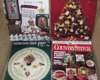 Three Christmas Cross Stitch Pattern Leaflets and One Christmas Magazine