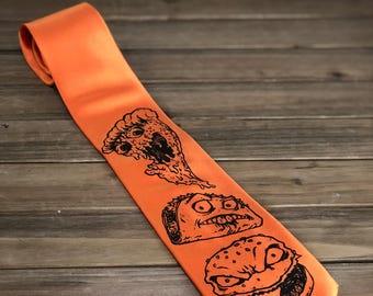 ORANGE Tie food Necktie - pizza Taco Hamburger Formal Tie