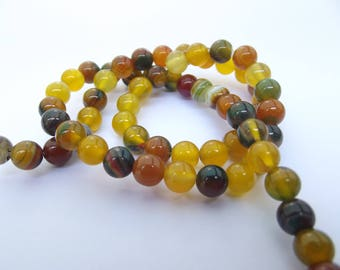 62 agate round beads smooth natural 5-6 mm DREA 210