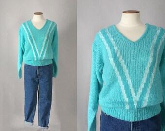 Vintage 1980s blue lightweight nubby v neck sweater / 80s spring sweater / medium M