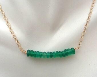 Dainty Emerald Necklace / Genuine Gemstone Bar Necklace / 20th Anniversary Gift / Layering Birthstone Jewelry / May Birthstone Gift //GS11