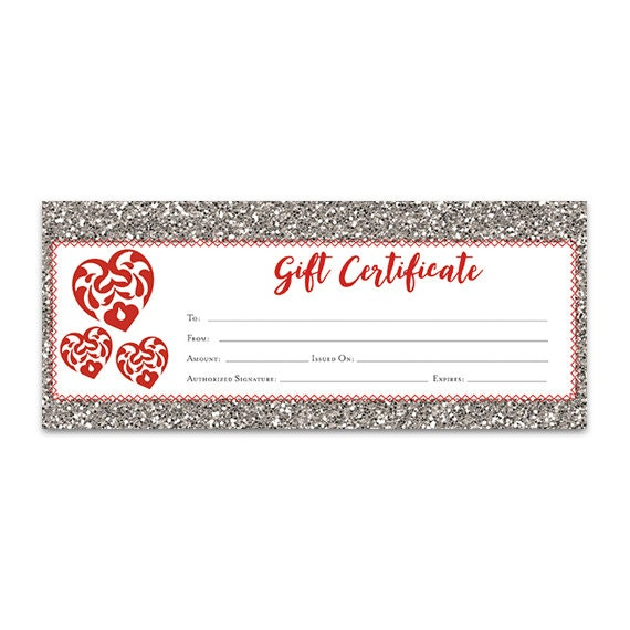 Red Heart Glitter Gift Certificate Download Premade Gift - Blank gift card template