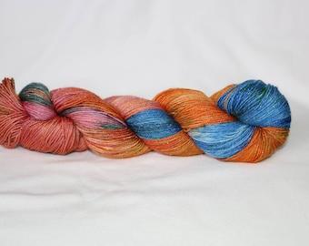 Hand Dyed Yarn - Superwash - Merino Sock - Silver Stellina Sock Yarn - 84/16 Merino/Stellina - Variegated - 'Wild One'