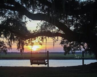 Sunset Photography- Low Country Art, South Carolina, Riverside Print, Peaceful Photo, Tree Swing Print, Live Oak Spanish Moss, Beaufort SC
