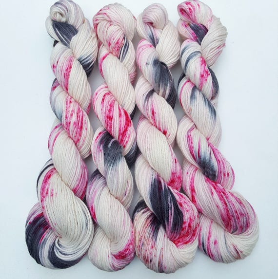 Kiss Kiss- 100 Cotton Yarn, Hand Dyed, Speckled, Hand Painted