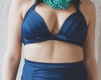 Lidia Vintage Blue Two Piece Swimsuit - Vintage Swimsuit, Classic Swimsuit, Couture