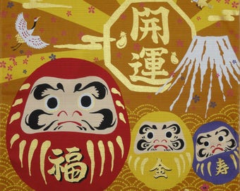 Cute Japanese Fabric Furoshiki 'Daruma Dolls on Gold' Cotton Japanese Fabric Square 50cm w/Free Insured Shipping