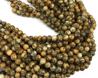 Brown Zebra Jasper Round Beads, 6mm 8mm 10mm Gemstone Beads Approx 15.5 Inch Strand