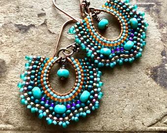Turquoise Fan Earrings, Copper Beaded Hoops