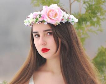 Pink floral crown  wedding flower crown Girl flower crown bridal flower crown Spring halo Bridal hair accessories White pink flower crown