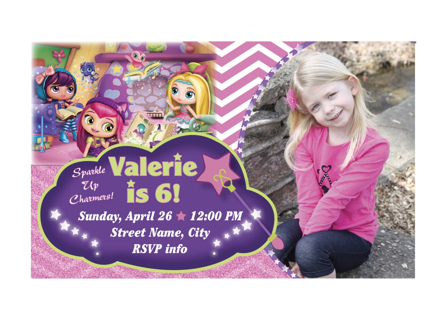 Little Charmers Birthday Invitation Little Charmers Birthday