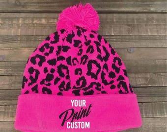Custom Embroidery Leopard Cheetah Pink & Black Pom Pom Beanie