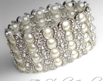 Pearl Bridal Cuff Bracelet Multi 4 Strand Ivory Wedding Jewelry in Ivory or White Pearls, Silver or Gold Base - SIERRA