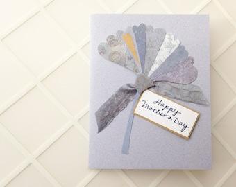 Handmade Mother's Day Card - ginkgo leaf, periwinkle blue, amethyst purple, Art Nouveau, original design - Happy Mother's Day