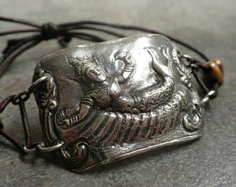 Mermaid Jewelry Bohemian Bracelet Leather and Silver Suvannamaccha