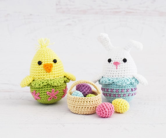 Crochet Patterns Easter Egg Bunny And Chick Amigurumi Easter