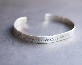 Sterling Silver Cuff Bracelet with Custom Message or Quote