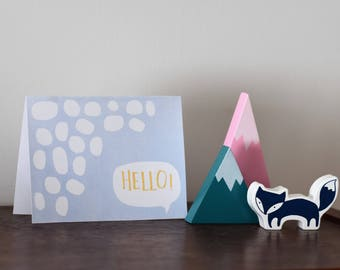 Greeting Card DIY PDF Printable Instant Download Hello