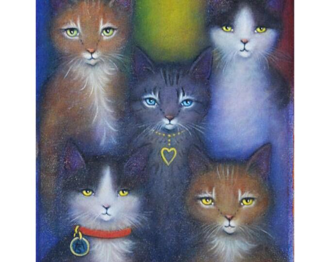 Rainbow Cats original oil painting by Heidi Shaulis
